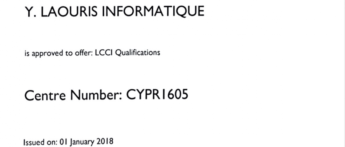 Lcci Approved Centre Certificate Y Laouris
